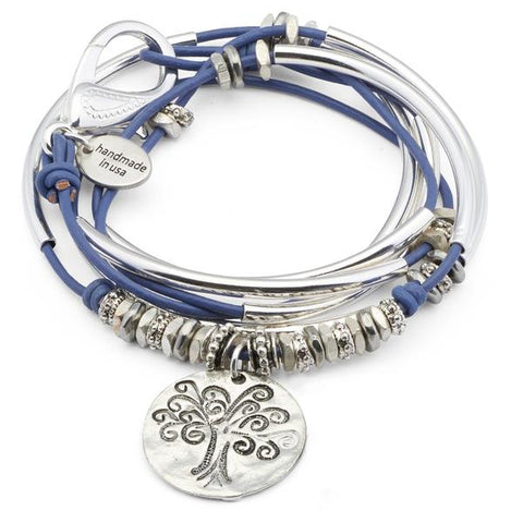 Lizzy James Dixie Hammered Tree of Life Leather Bracelet/Necklace - The Passionate Collector