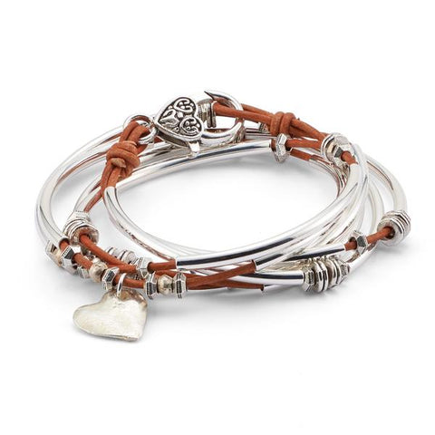 Lizzy James Double Love Hammered Leather Bracelet/Necklace - The Passionate Collector