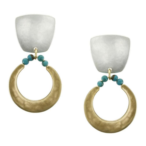 Marjorie Baer Gold and Silver with Turquoise Clip on Earrings
