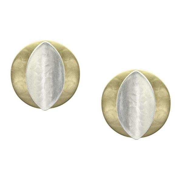 Marjorie Baer Convex Disc With Concave Leaf Earrings - The Passionate Collector