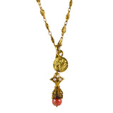 Gypsy Single Coral Lariat Drop Necklace