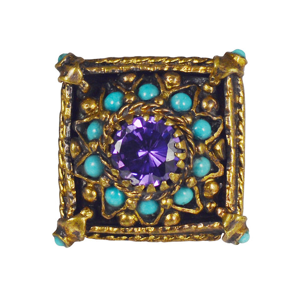 Gypsy Oxidized Purple CZ with Turquoise Ring