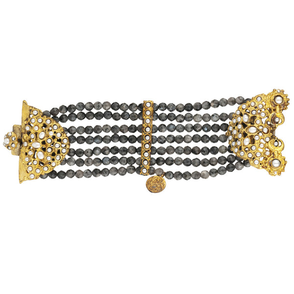Gypsy Oxidized Gold and Jasper Bracelet