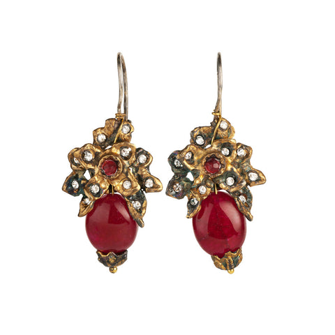 Gypsy Oxidized Gold & Red Crystals Earrings