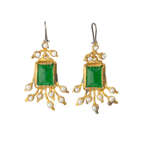 Gypsy Gold & Rectangle Green Crystal with Pearls Earrings