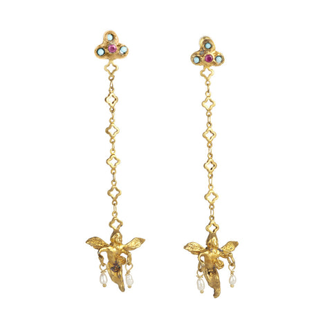 Gypsy Dangling Cherub Duster Earrings, Oxidized Gold with Turquoise, Pearls, and Crystals