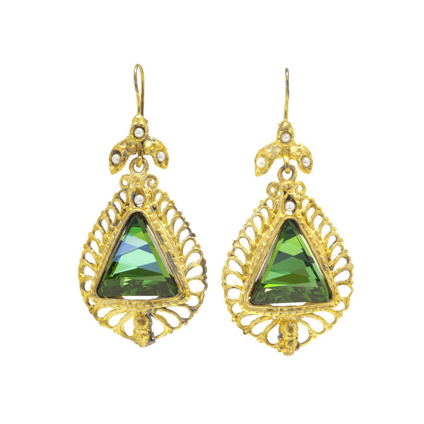 Gypsy Triangle Emerald Swarovsky Crystal Earrings