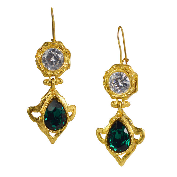 Gypsy Emerald and white CZ earring
