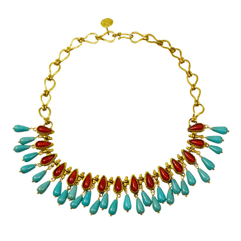 Gypsy Coral and Turquoise Collar Necklace