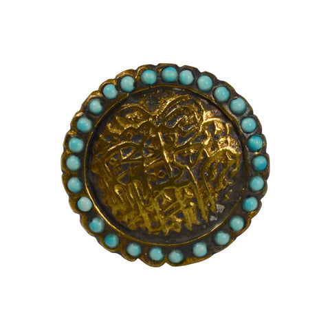 Gypsy Oxidized Sultan Sign Ring with Turquoise