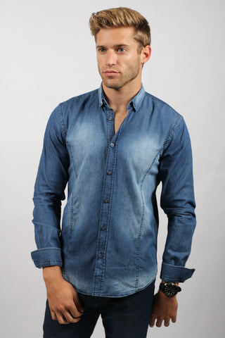 Eight X  NAVY STONE WASH DENIM SHIRT - The Passionate Collector