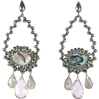 Azaara Rhodium Teardrop, Abalone Shell and Gemstone Drops Earring - The Passionate Collector