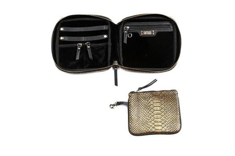 Hudson+Bleecker Gold Embossed Python Stella Jewelry Case - The Passionate Collector