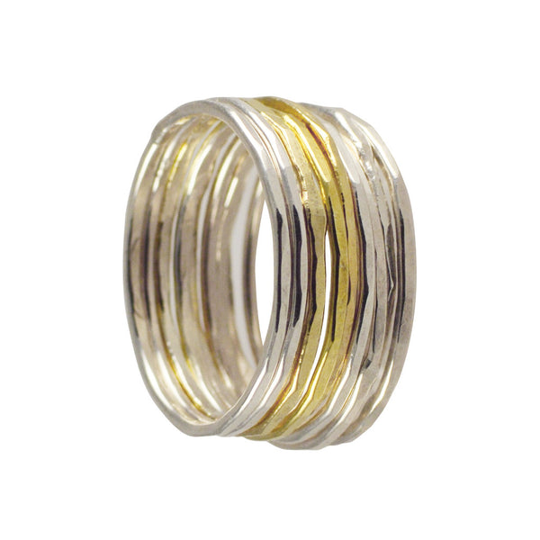 Joanna Morgan Set of Nine Silver & Gold Rings