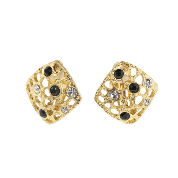Karine Sultan Square Swarovski Crystal Clip Earrings