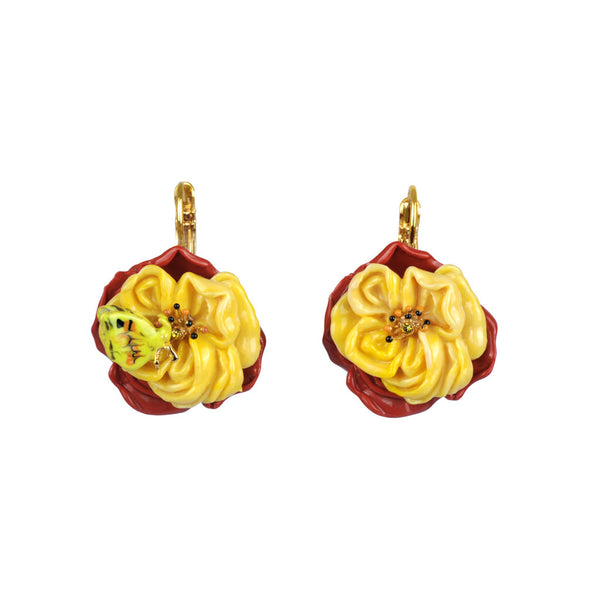 Les Nereides Flower Earring with Butterfly; size 6 - The Passionate Collector