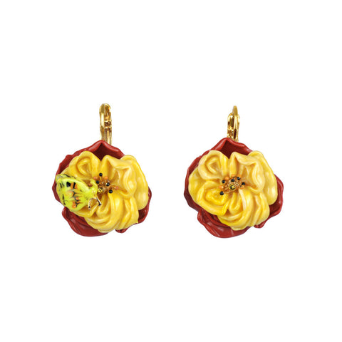 Les Nereides Flower Earring with Butterfly