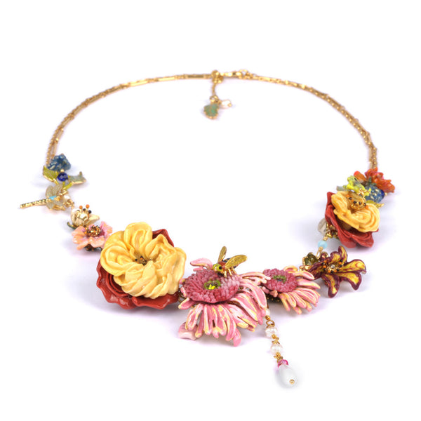 Double Rope Gold Plated Neck with Flower Assortment