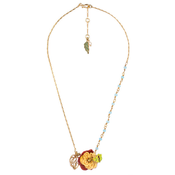 Gold Plated necklace with Green Rhinestones & Flower