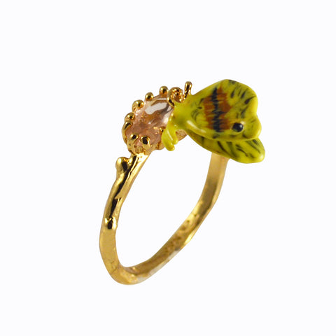 Ring with butterfly on crystal