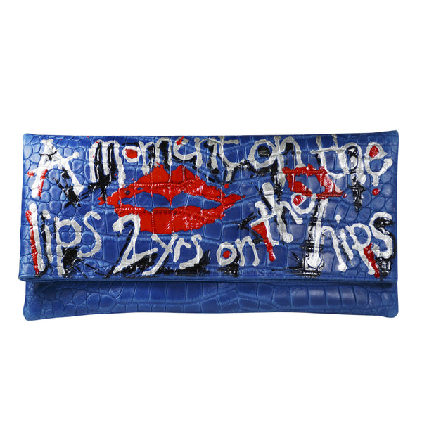 Louise Farnay Cobalt Blue Clutch with Elizabeth Taylor Quote