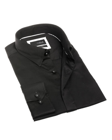 Eight X Black Hidden Buttons Shirt - The Passionate Collector