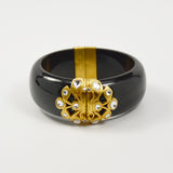 Manjusha Black Resin Bangle with Floral Filigree Accent