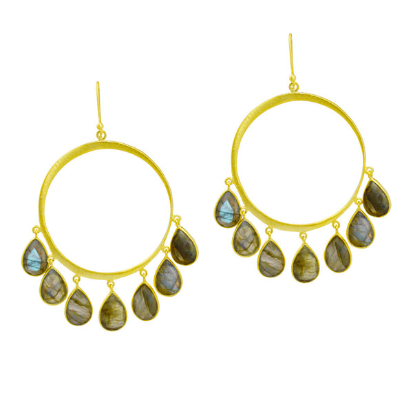 Manjusha Hoops with Multi Dangle Labradorite Teardrops Earring - The Passionate Collector
