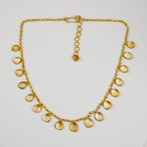 Manjusha Citrine Mini Teardrops Necklace