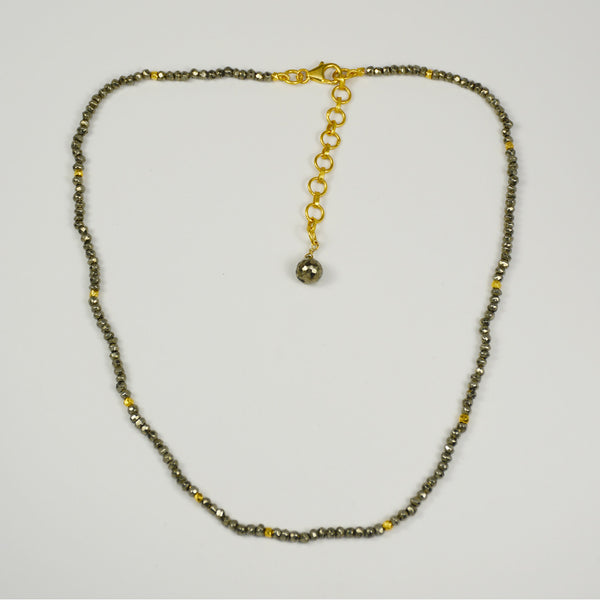Manjusha Pyrite and Gold Bead Necklace