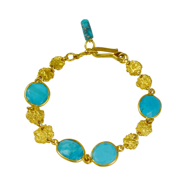 Manjusha Gold Flake and Turquoise Bracelet - The Passionate Collector