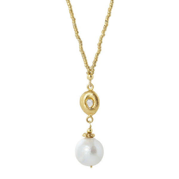 Manjusha Large Pearl Pendant with Diamond