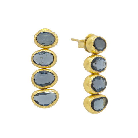 Manjusha Four Dark Blue Topaz Drop Earrings