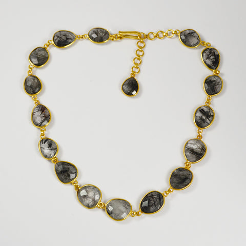 Manjusha Faceted Oval Rutilated Quartz Gold Necklace
