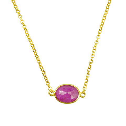 Manjusha Delicate Chain with Oval Ruby