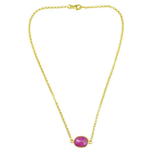 Manjusha Oval Gemstone on Gold Chain