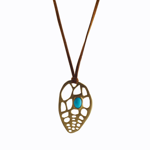 Ocean Rock and Turquoise Pendant with Recycled Brass