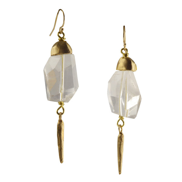 Rock Crystals Earrings with Recycled Brass