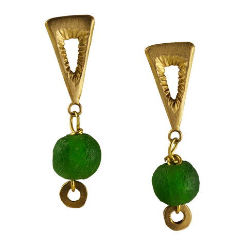 Triangle Brass Earring and Green Ocean Glass