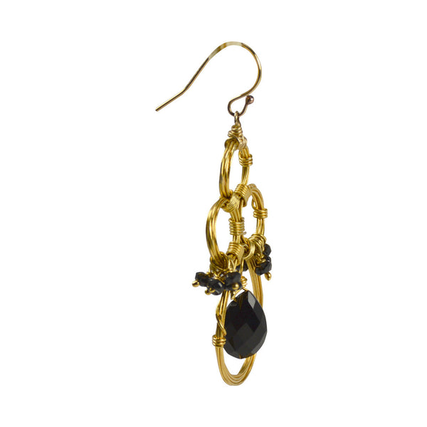NuNu Designs Black Spinel Center Stone Swirl Earrings - The Passionate Collector