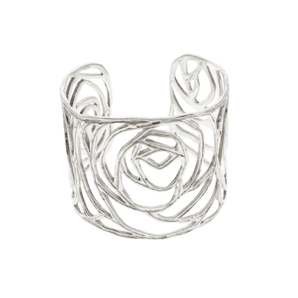 NuNu Designs Rose Sterling Silver Large Cuff Bracelet - The Passionate Collector