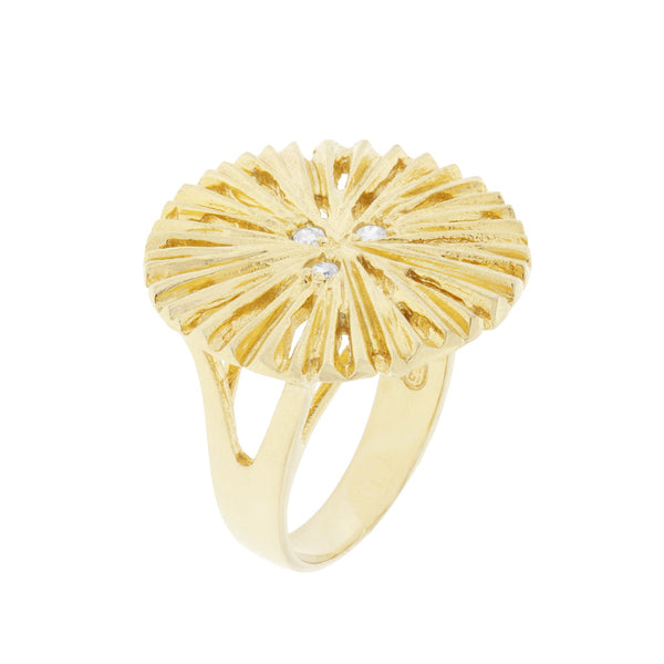 NuNu Designs 18K Gold Plated Sterling Silver Large Sand Dollar Ring