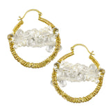 NuNu Designs 14K Gold Filled Medium Hoop Earrings with Bundled Gems