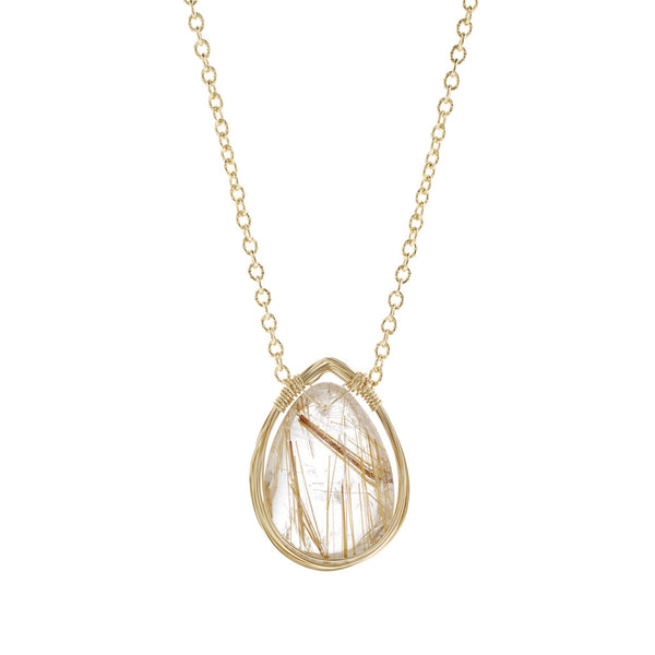NuNu Designs 14K Gold Filled Wire Wrapped Pendant Necklace