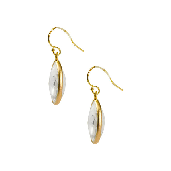 NuNu Designs 18K Gold Plated Sterling Silver Medium Faceted Circle Gem Earrings on Hook