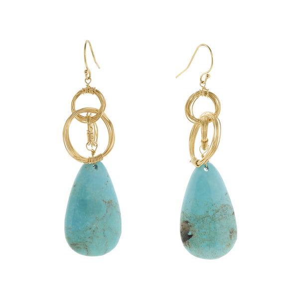 NuNu Designs Oval Drop w/ Double Wired Circle Earrings