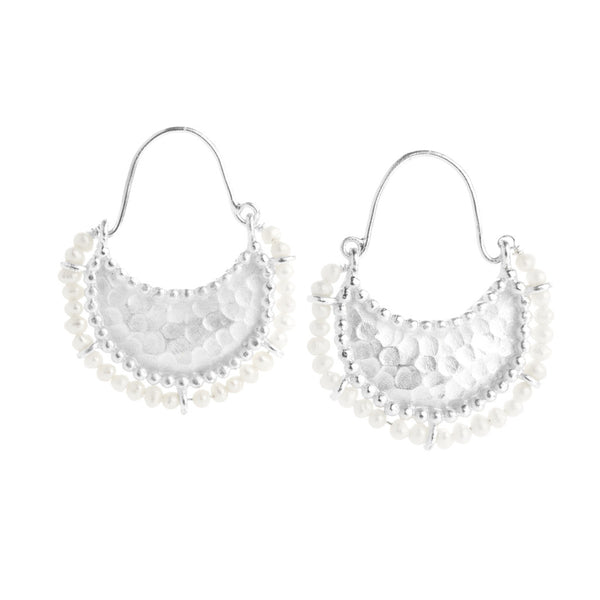 NuNu Designs Collar Earrings Sterling Silver Pearl