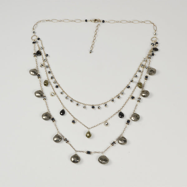 NuNu Designs Triple Layer Scattered Gems Necklace