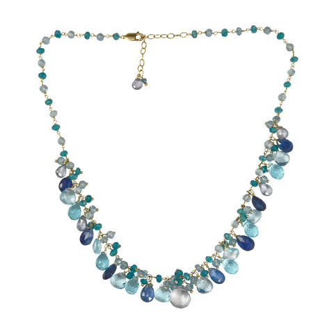 "NuNu Designs 16-18"" Single Strand Blue Topaz & Dangling Gems Necklace"
