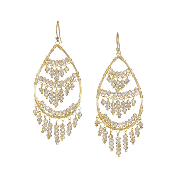 NuNu Designs 3 Tier Dangling Gems Chandelier Earrings